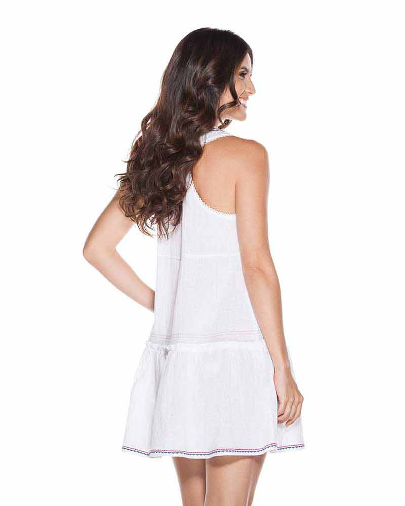 WHITE EMBROIDERED TUNIC DRESS ONDADEMAR TTU090-SOLID
