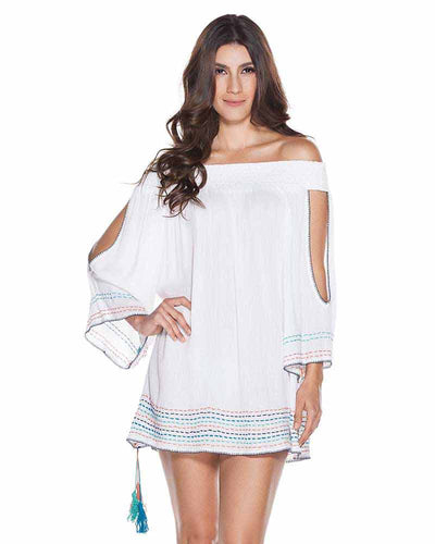WHITE EMBELLISHED SHORT DRESS ONDADEMAR VEC062-SOLID