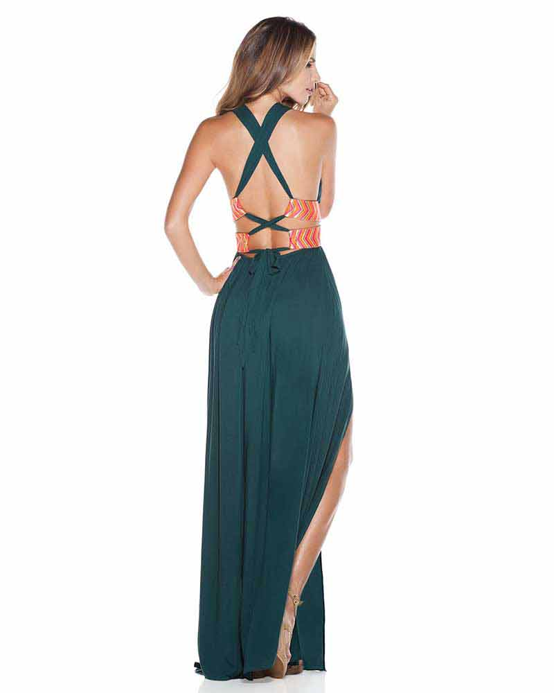 TEAL EMBELLISHED LONG DRESS ONDADEMAR VEL053-SOLID