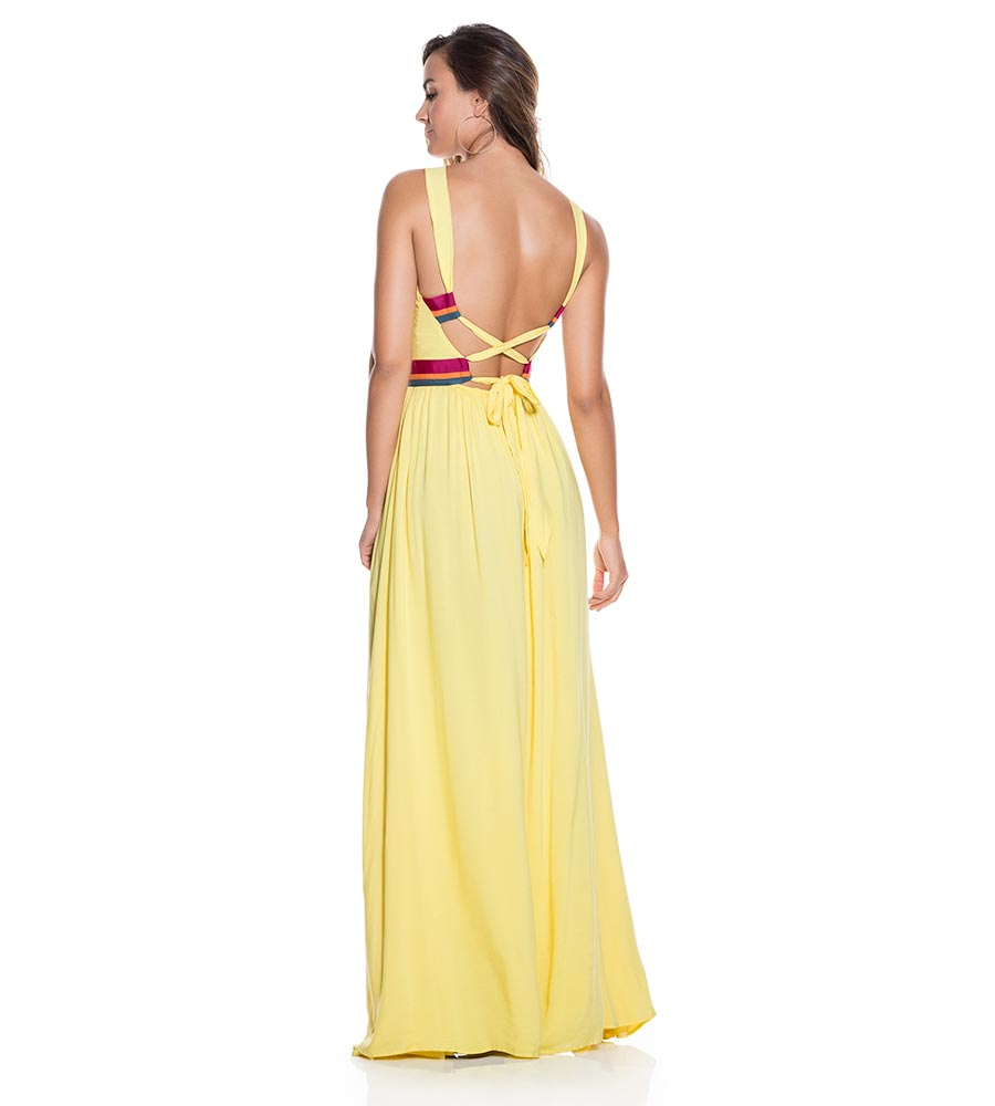 YELLOW RAYON LONG DRESS ONDADEMAR VEL059-SOLID