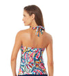WATERCOLOR PAISLEY FRONT RING HALTER TANKINI TOP ANNE COLE 21MT29695-MULT
