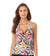 WATERCOLOR PAISLEY FRONT RING HALTER TANKINI TOP BY ANNE COLE