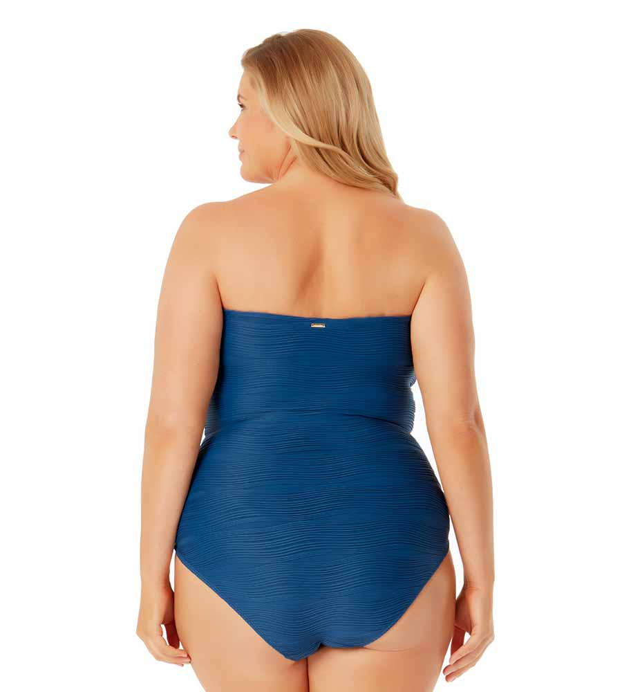WAVERIDER LOW TIDE BLUE PLUS BANDEAU ONE PIECE BY ANNE COLE