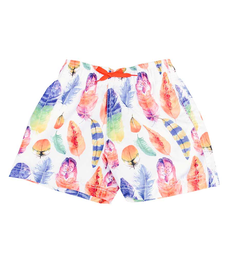WHITE DANCING FEATHER SWIM SHORTS AZUL 287-W