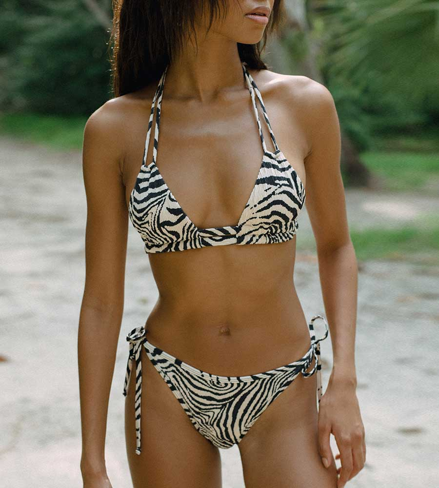 ZEBRA SCRUNCH DOPIO BIKINI TOP BY MONTCE
