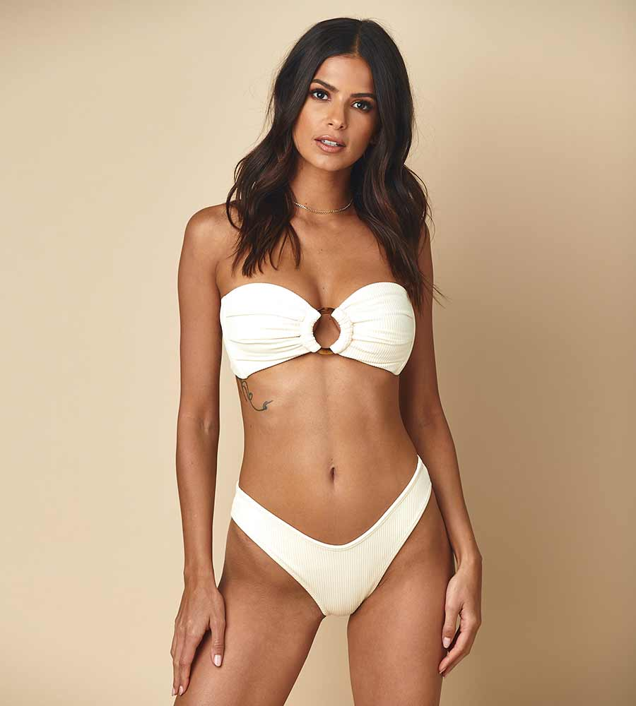CREAM RIB LULU BIKINI BOTTOM BY MONTCE