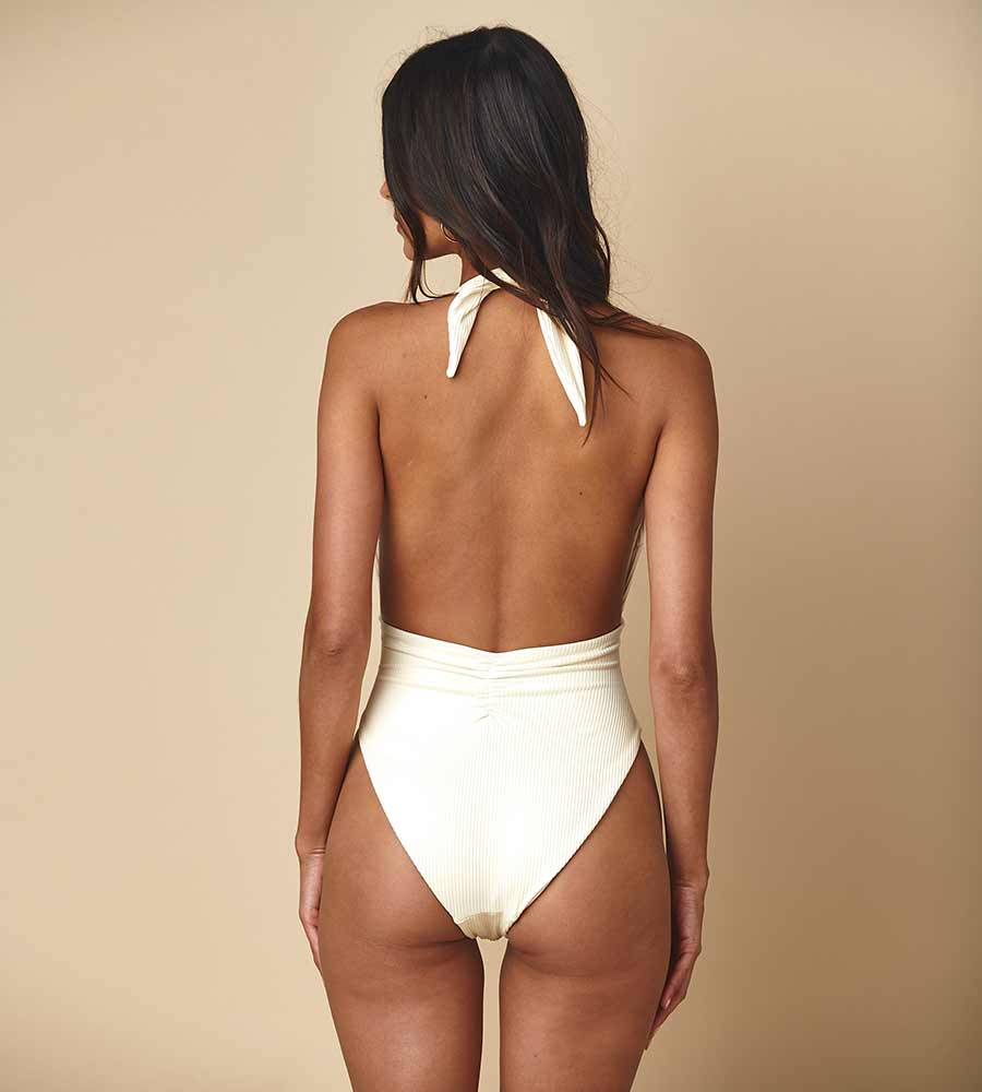 CREAM RIB TROPEZ TIE-UP ONE PIECE BY MONTCE