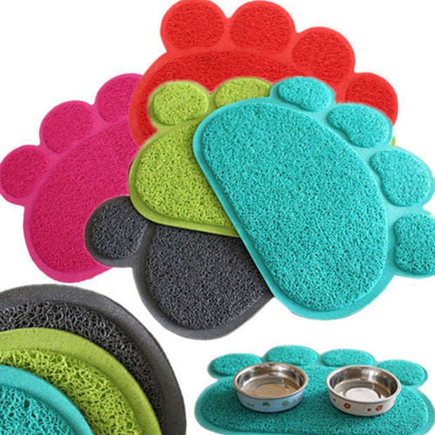 Cute wipe clean paw mat for dog or cat feeding