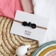 Load image into Gallery viewer, Black Dotty Bow Headband
