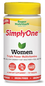 Super Nutrition SimplyOne Women's Multivitamin, Iron-Free - 30 Tablets
