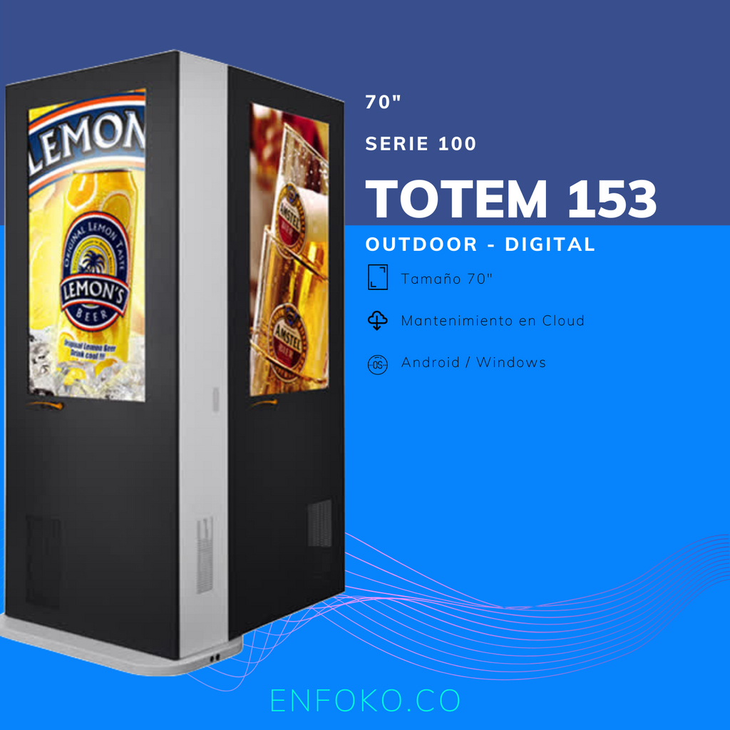 "Tipo 153 - Tótem Digital Outdoor Doble Cara - 70"" Gris"