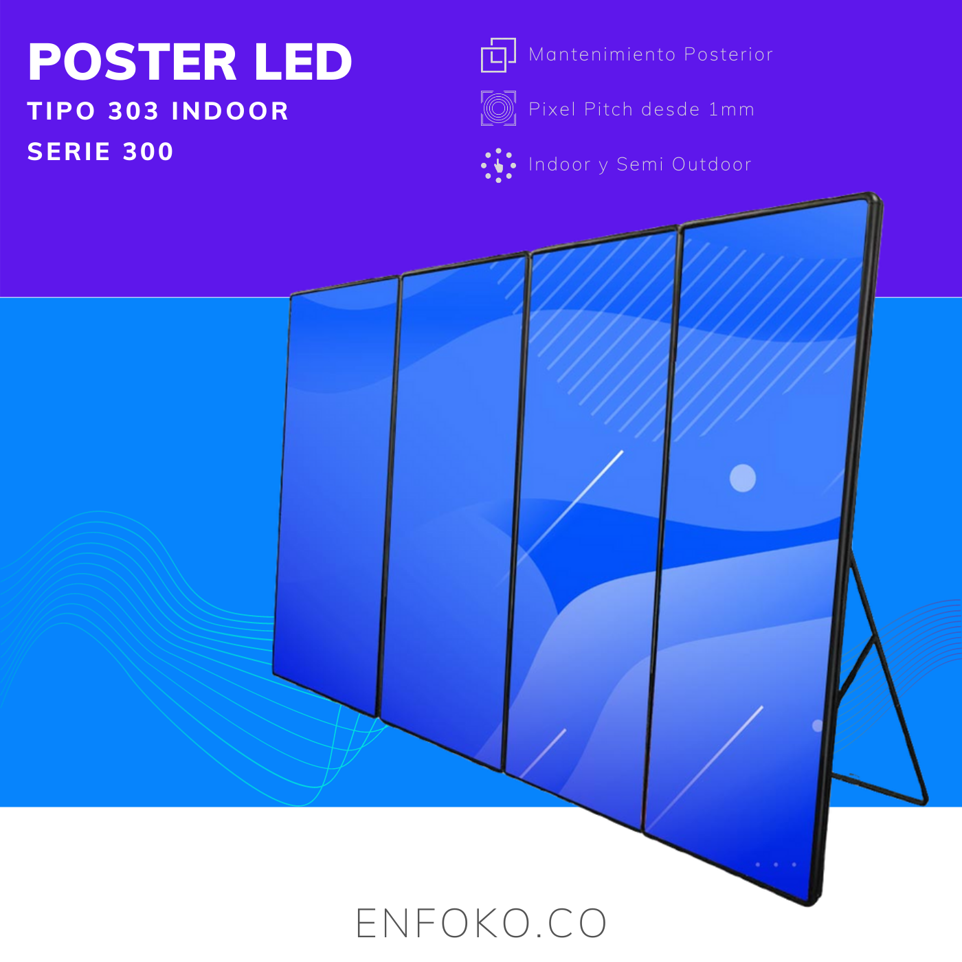 Tipo 303 - Poster LED Full Color - 68""