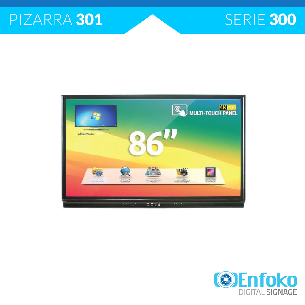 Tipo 701 - Tablero Pizarra Interactiva Ultra HD 4K - 86""