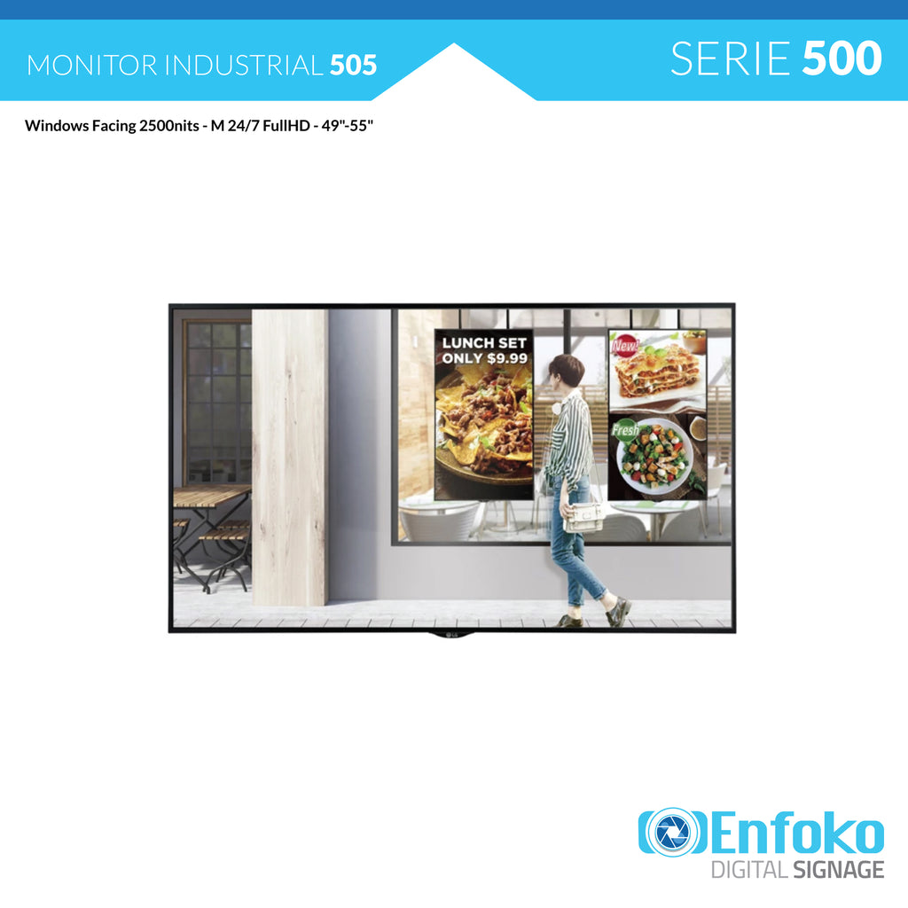 "Tipo 505 - Cartelera Digital - Windows Facing 2500nits - M 24/7 FullHD - 49""-55"" - LG - Venta"