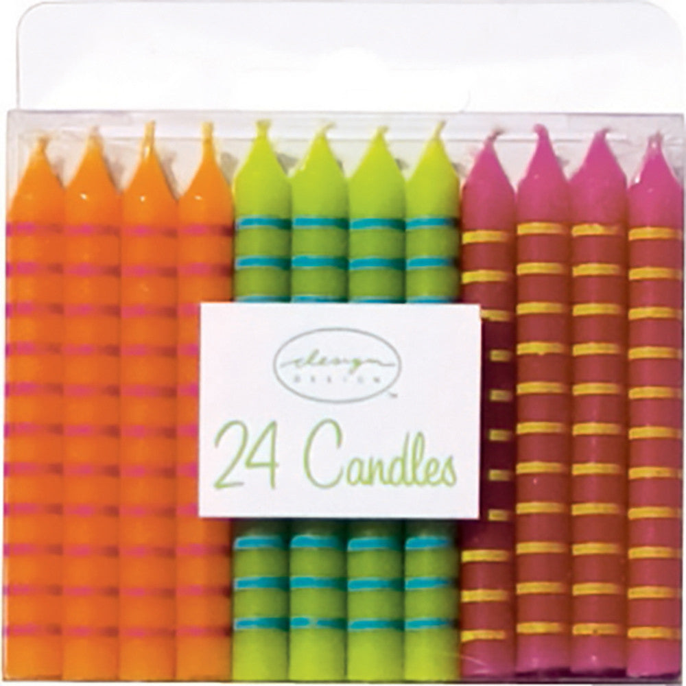 Bright Colored Striped Candles