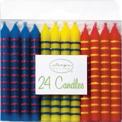 Primary Colored Striped Candles