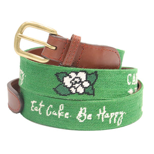 Eat Cake. Be Happy. Needlepoint Belt