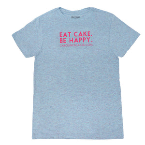 Eat Cake. Be Happy. T-Shirt (BLUE/PINK)