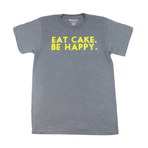 Eat Cake. Be Happy. T-Shirt (GREY/YELLOW)