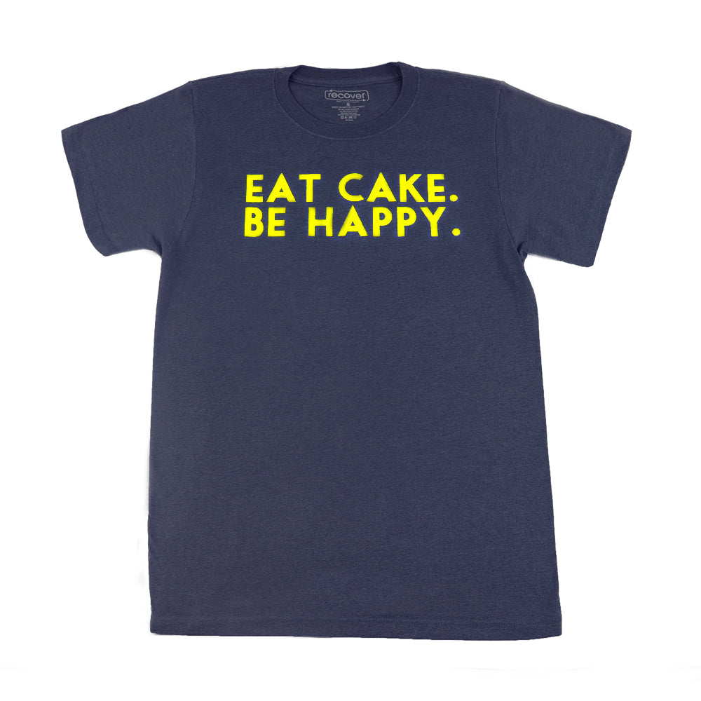 Eat Cake. Be Happy. T-Shirt (NAVY/YELLOW)