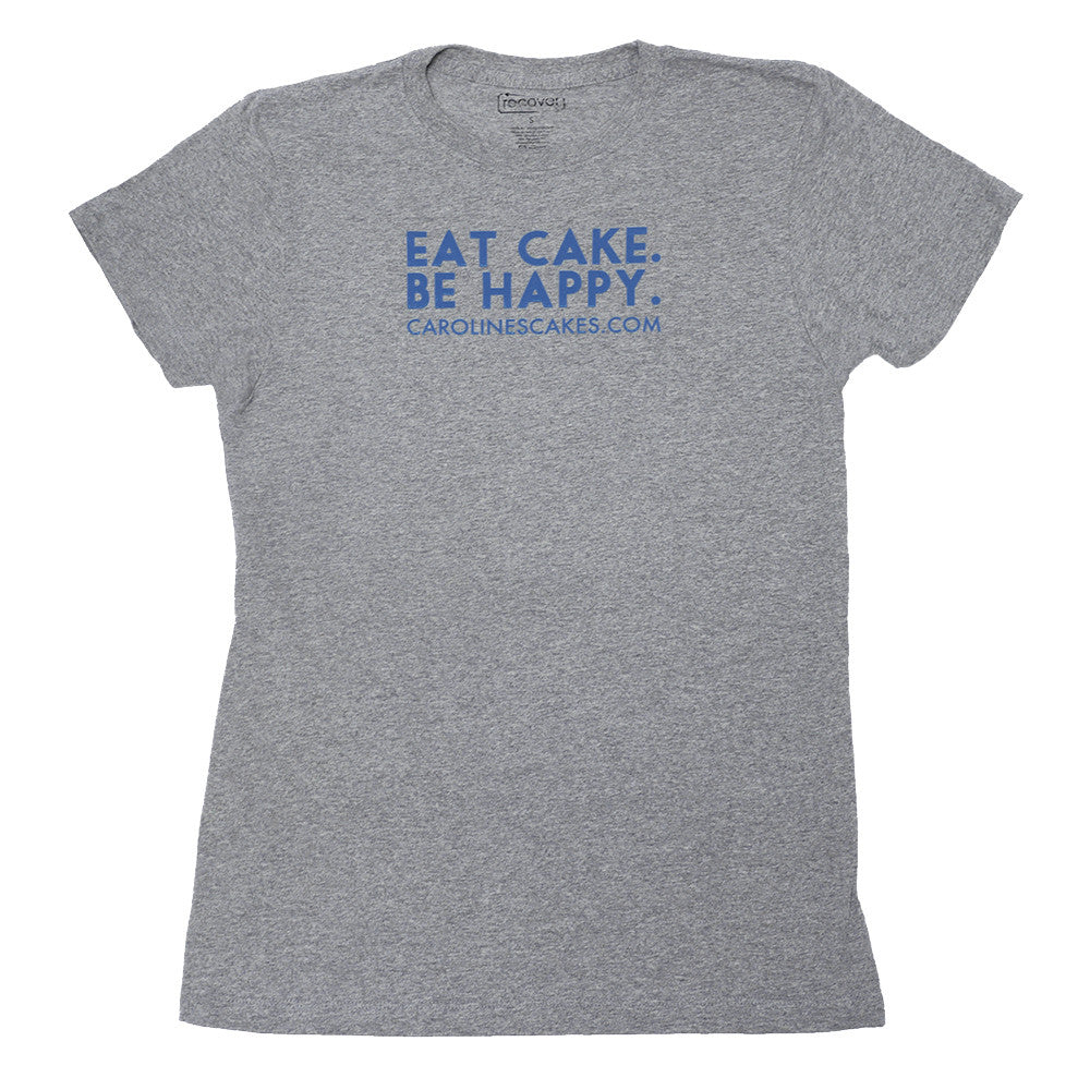 Eat Cake. Be Happy. T-Shirt (GREY/BLUE)