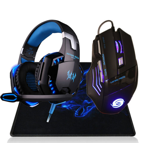 Professional 3200 DPI 7 Button 7D LED USB Wired Gaming Mouse Mice+Over-ear Gamer Headphone Headset Earphone with Mic Stereo Bass