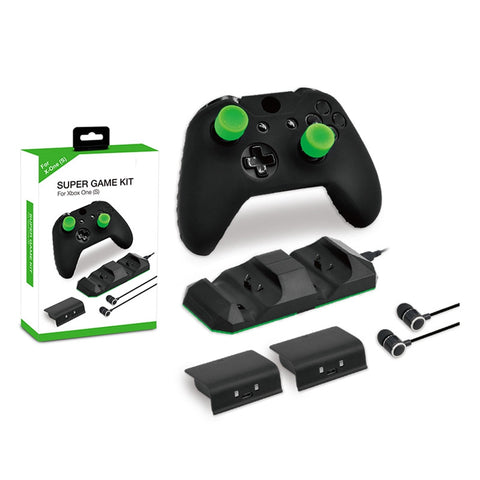 9 In 1 Game Accessory For XBOX ONE X/S Gamepad With Controller Cover Case + Battery Pack + Charging Dock + Headphones Kit