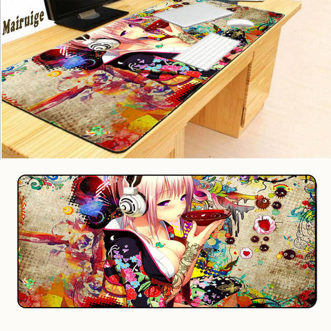 Mairuige Print Locking Edge Rubber XL 90 X 40cm Japan Anime Mousepad Game Gamer Gaming Mouse Pad Best Wife Girl Friend Sister