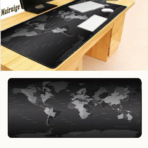 Mairuige Drop Shipping Hot Large Size 800*300*3MM Black World Map Speed Game Overlock Mouse Pad Mat Laptop Gaming Mousepad