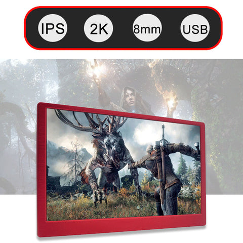 13.3 Inch 2K HDMI USB Portable Monitor For PS3 PS4 XBOX NS Gaming Display PC Laptop Second Monitor Standard VESA With Speaker