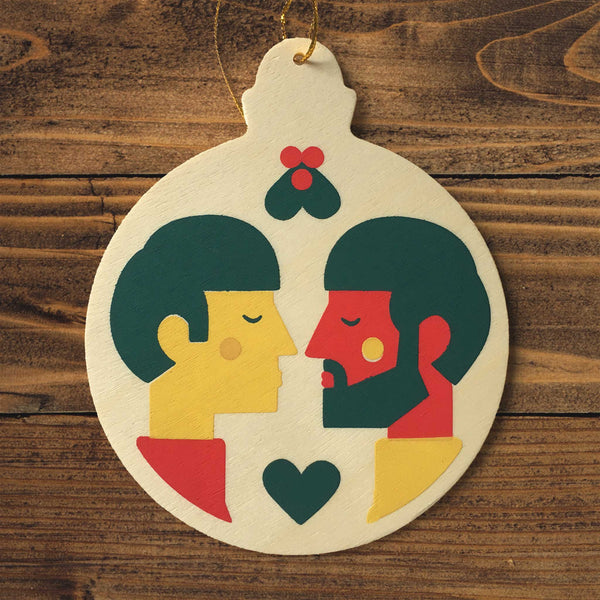 Wooden Christmas ornament - two men