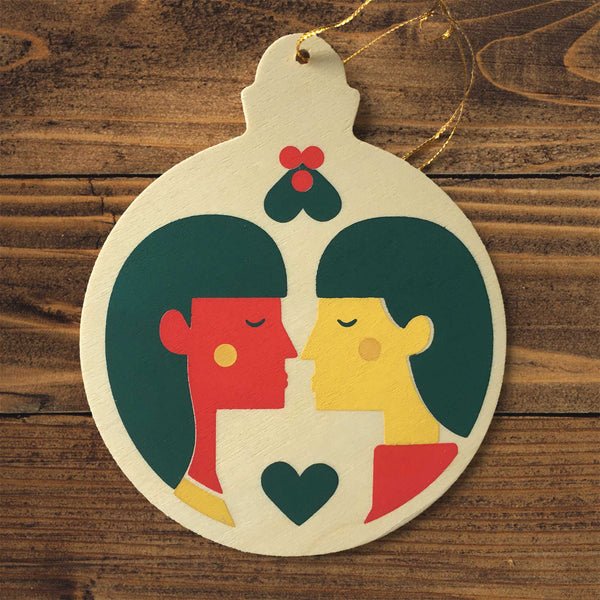 Wooden Christmas ornament - two women