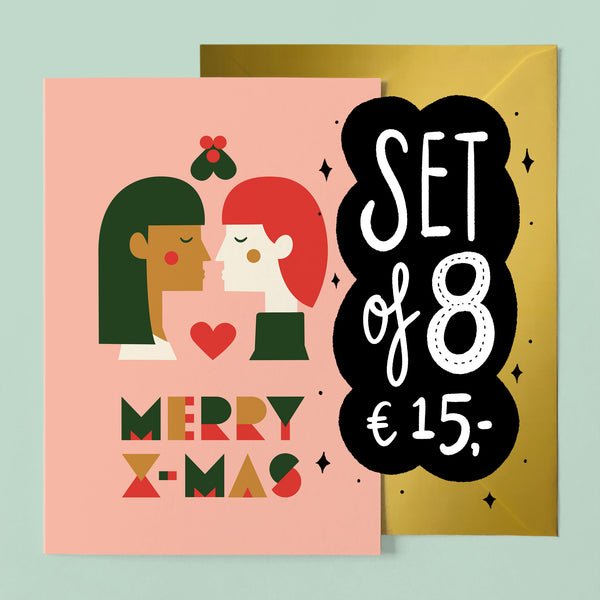 Set of 8 Jolly Gay Christmas Card - two women