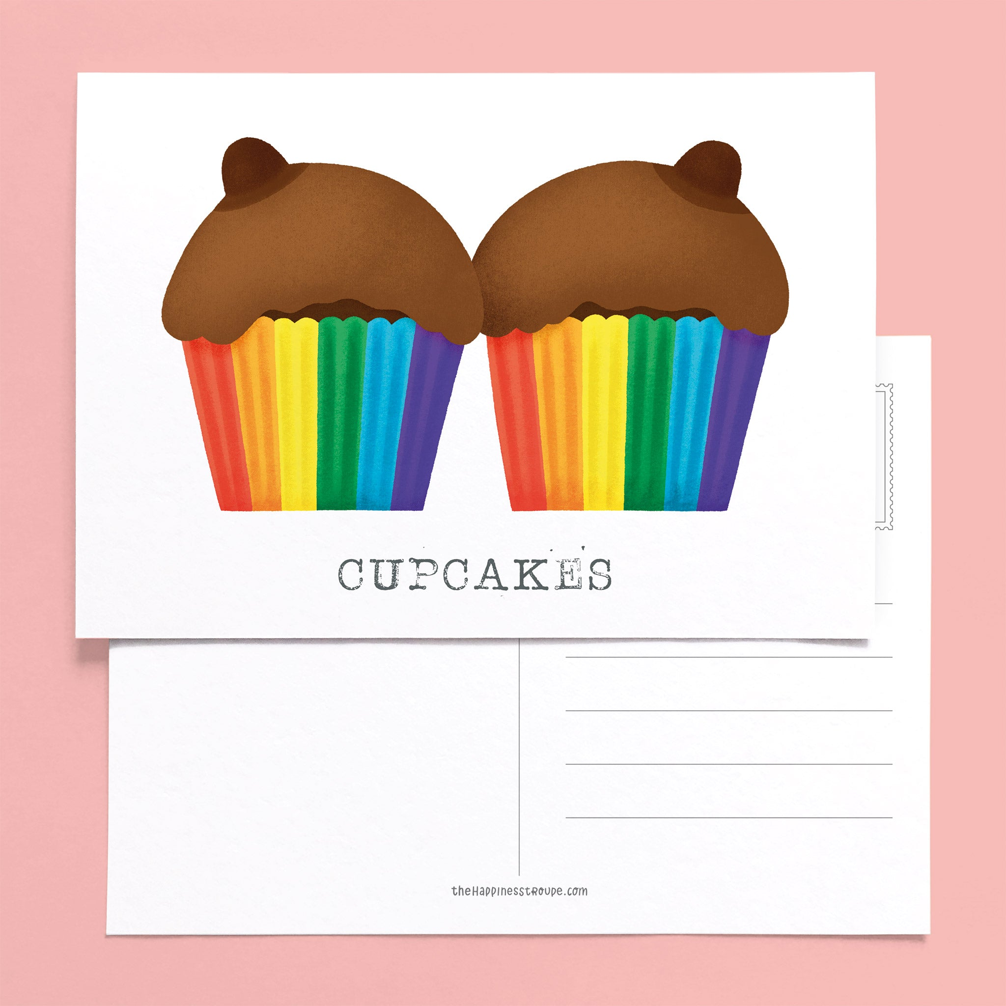 boobs lgbt postcard chocolate rainbow cupcakes