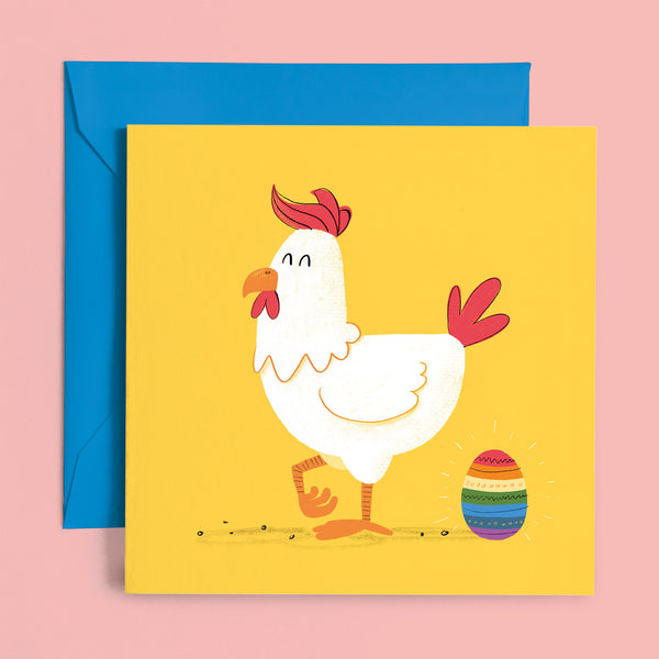 gay chicken rainbow egg greeting card