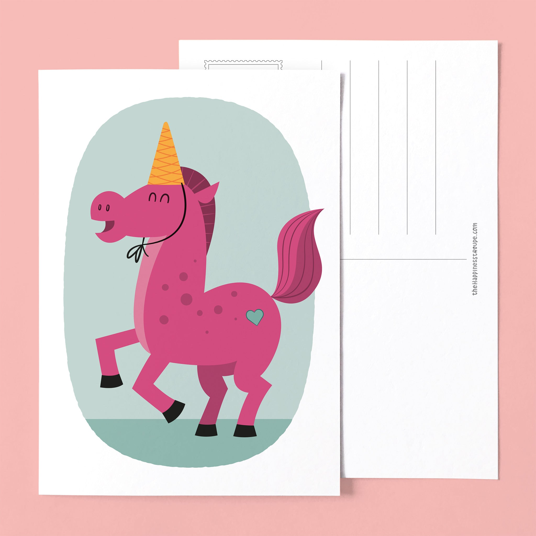 postcard greeting card gay pink unicorn