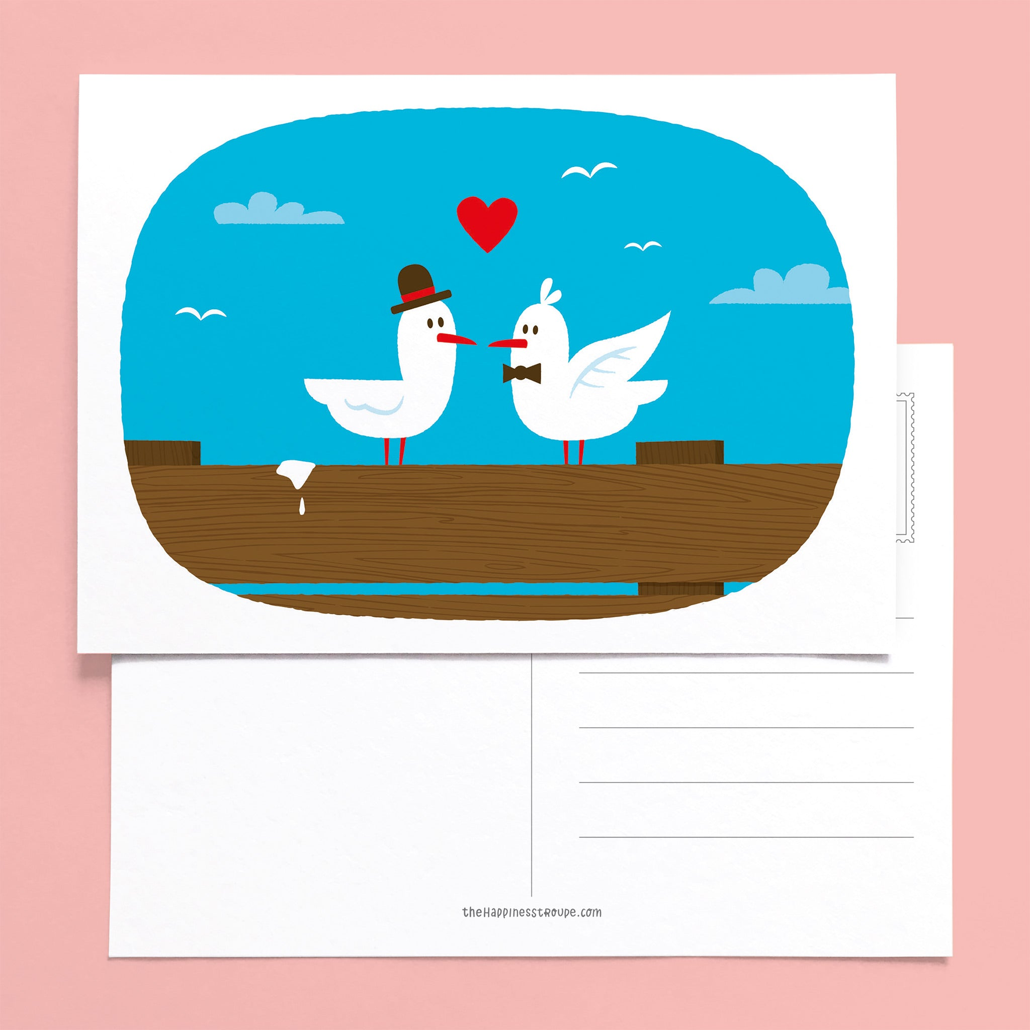 postcard greeting card gay lovebirds
