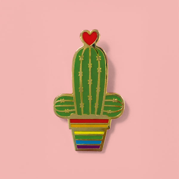 hard enamel pin gay rainbow cactus