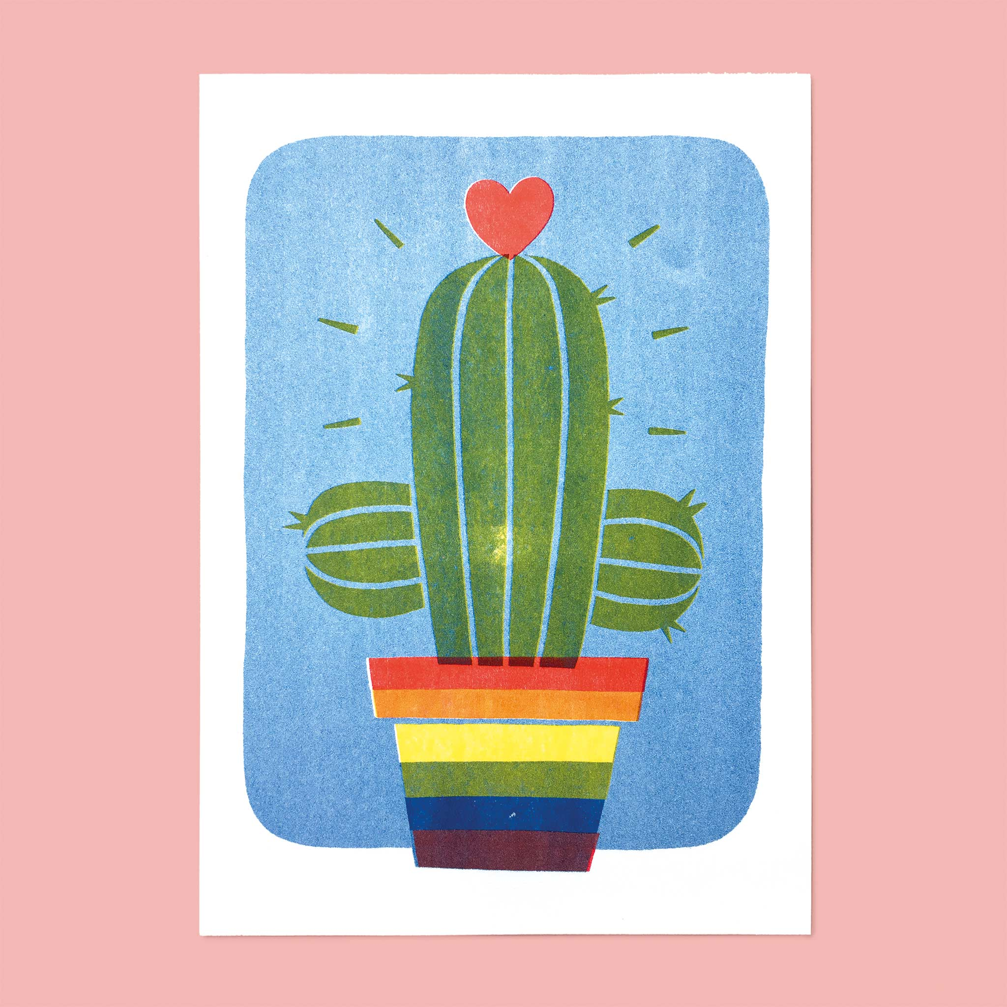 gay rainbow cactus a4 artprint poster