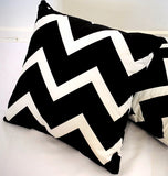 2 x Black & White Cushion Covers (54808) Velvet 45 x 45 cm Square Premium Soft Furnishing, Sofas, Beds, Indoor, Outdoor