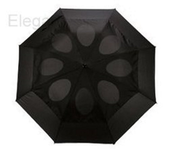 Windproof Umbrella Black Vented Double Canopy Push Button (2 Fold)