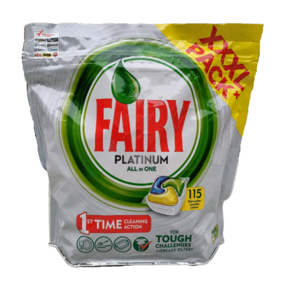 Fairy Platinum ALL in ONE Dishwasher Capsules 115 Pack - Lemon - XXXL Pack