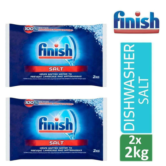 2 x Finish Dishwasher Salt 2Kg Soften Water to Prevent Limescale And Watermarks