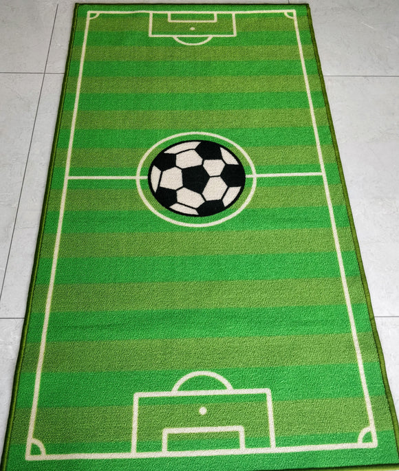 Football Ground (Green) Polyester Area Rug Anti-Slip Small Carpet / Runners for Kids Bedroom