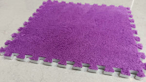 10 x EVA Rug Tile (Purple) Soft Interlocking Fur Feeling 30 x 30 cm Ideal for Yoga, Pay Mat