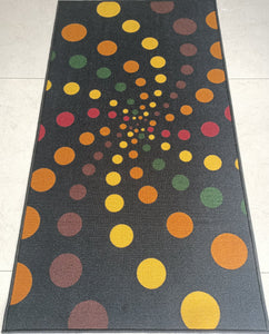 Spiral Dotted (Dark) Design Rugs / Runners - 100% Polyester Rug with Anti-slip Latex back