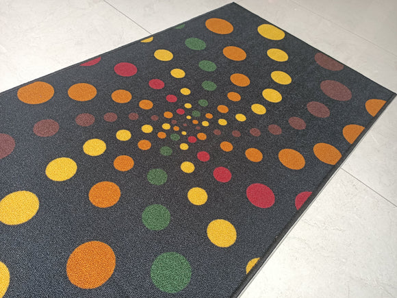Spiral Dots Dark (Black) Polyester Area Rug Anti-Slip Small Carpet / Runners for Living Room, Bedrooms