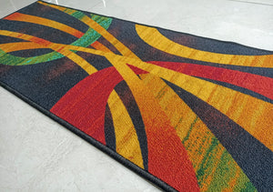 Modern Black Contemporary Design Rugs / Runners - 100% Polyester Rug with Anti-slip Latex back