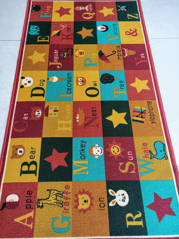 Multicoloured Alphabets Rugs / Carpets / Mat for kids room - 100% Polyester with anti-slip Latex back