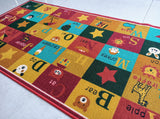 Alphabet Polyester (Multi Colour) Area Rug Anti-Slip Small Carpets / Runners for Living Room, Bedrooms